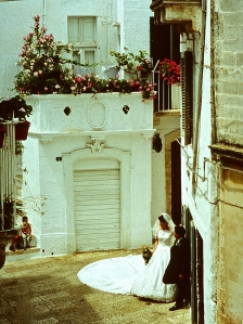 Looking out our balcony window across the piazzetta to Annina's house. Brides love this corner, so many wedding photos are taken here.