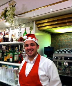 Barista Giuseppe at our local hangout, Super Bar, in Piazza Roma