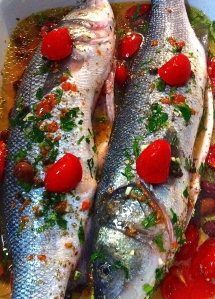 Our spigola (sea bass) is ready for its stint in the oven.