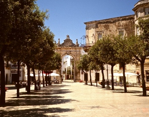 The streets are deserted during Sunday lunch in Martina Franca, Italy.