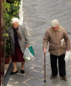 Our neighbor, Antonietta, returning from the weekly market with a friend.