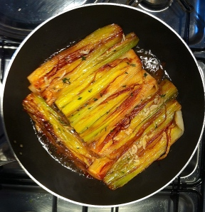 Porri in Umido or Braised Leeks in the pan.