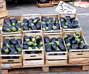 Shiny, fresh eggplants sell for a little less than $4 a case in the Martina Franca market.