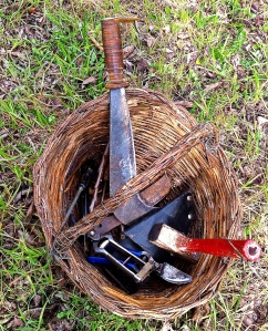 All of the essential pruning and grafting tools are carried in this basket.