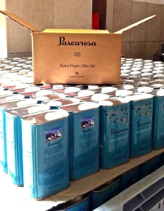 Lots and lots of Pascarosa Extra Virgin Olive Oil tins getting ready to be filled with beautiful Pascarosa oil.