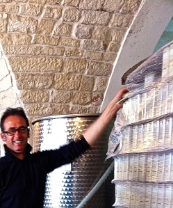 Orazio Sisto, our olive miller, starts filling tins early in the morning.