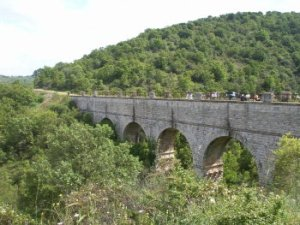 The bridges of the Pugliese Aqueduct stretches across Italy from the Mediterranean to the Adriatic and down the heel of the boot.