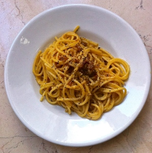 Finished Spaghetti alla Carbonara—a main course portion.
