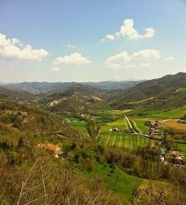 Looking out at the valley behind the Umbrian hill town of Montone.