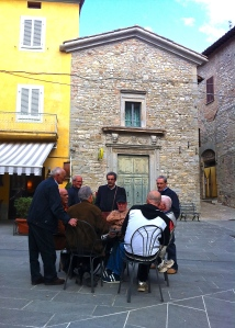 Montone's piazza is the town's living room, almost always occupied by town residents and visitors.