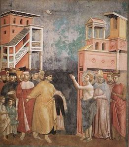 St. Francis of Assisi renouncing his worldly goods. (Photo credit: Wikipedia)