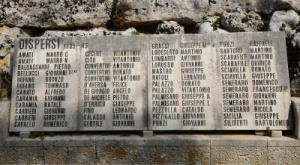 Names of World War II fallen commemorated in nearby Cisternino.