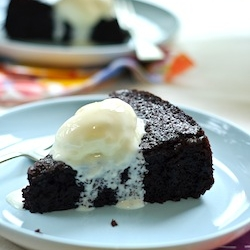 Nigella Lawson's Chocolate Olive Oil Cake is also perfect with lactose-free gelato (Photo credit: foodgawker.com).