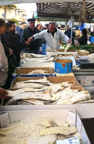 Make sure you get the very best pieces of salt cod like these focused market shoppers in Francavilla Fontana.