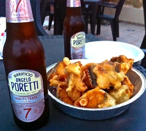Baccalà Fritta and beer—a winning combination on a warm, late spring evening.