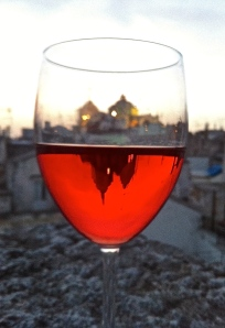 Our rosé glass is more than half full on the terrace in Martina Franca.