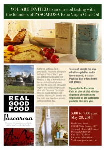 Come join us in Portland, Oregon to sample Pascarosa Extra Virgin Olive Oil.