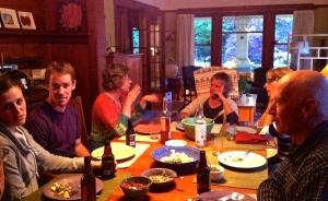 One of several dinner with family and dear friends, Misha, Dana and Irene in Portland.