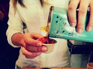 Francesca pours Pascarosa Organic Extra Virgin Olive Oil on Jim Dixon's Farro e Fagioli Pantesco at our first tasting.