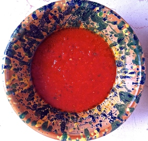A just-made bowl of passato di pomodoro from a gift flat of tomatoes.