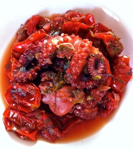 Saucy, flavorful octopus in its own broth is a low fat, high protein choice in the Mediterranean diet.