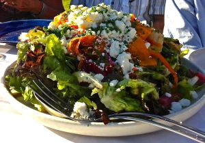 Sometimes a great big California style salad like this one at Outstanding in the Field's Everett Farm dinner is what we really crave.