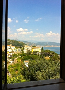 The view from our apartment window at an exquisite Airbnb find in Raito on the Amalfi coast.