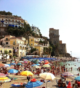 The town beach in Cetara at the beginning of the Amalfi coast is nice and crowded—just how the Italians like it.