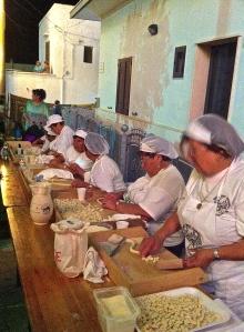 Local women prepare ALL of the orecchiette for this annual orecchiette fair in a village outside of Cisternino in the Valle d'Itria.