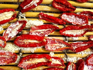 San Marzano tomatoes dry the old-fashioned way in the hot Pugliese sun on cane pallets.