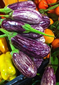 This especially photogenic eggplant is lovely in la parmigiana, but the regular deep purple kind is just as good, too.