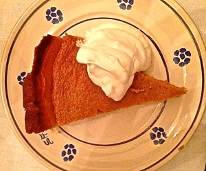 Pumpkin pie from fresh Italian zucca on a Pugliese pottery plate.