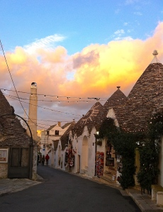 Neighboring Alberobello's trulli quarter is ready for Christmas.