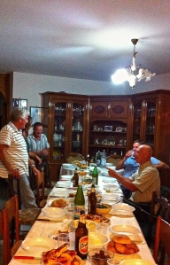 Dinner with new and old friends at the home of Nardino Sisto, our olive miller.