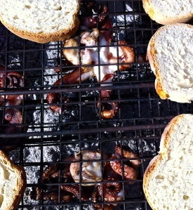 Country bread and tiny octopus were cooked over oak and olive coals then served with a sluice of new extra virgin olive oil.