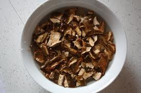 Cover dried porcini mushrooms with very hot water and let them soak for about half an hour. Don't throw away the soaking liquid! It adds the deep, earthy flavor that makes this stew especially delicious.