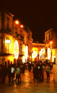 Martina Franca is illuminated by traditional decorations erected annually in honor of San Martino, the town's patron saint.