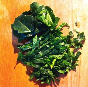 Chard leaves without their tough center stalks are layered then sliced in half-inch pieces for the minestra.