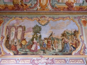One of the many frescoes attributed to Domenico Carella that adorn the public rooms of the Palazzo Ducale in Martina Franca.