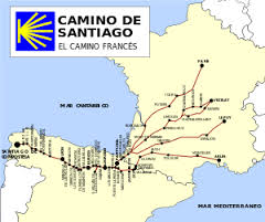 One of the most traveled camino routes, the Camino Frances, begins in various locations in France, crossing the Pyrenees into Spain to reach Santiago de Compostela near the Atlantic coast.