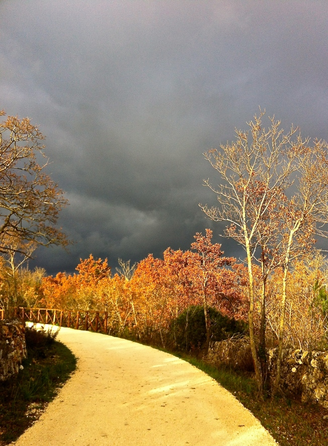 A storm wells up during our afternoon training walk on the Acquedotto Pugliese near our house.
