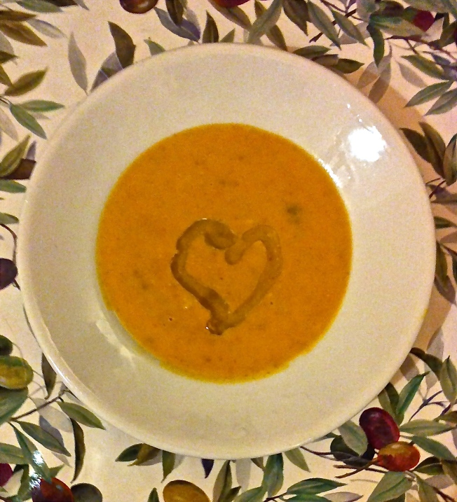 Extra virgin olive oil adorns this savory butternut and nut butter soup.