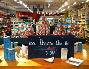 Getting ready for one in a series of Pascarosa olive oil tastings we held throughout Oregon and California this spring.