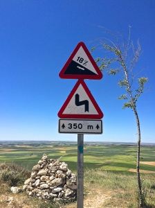 We were surprised (horrified) to find that there were significant grades on the meseta, the part of the Camino advertised as flat and boring.