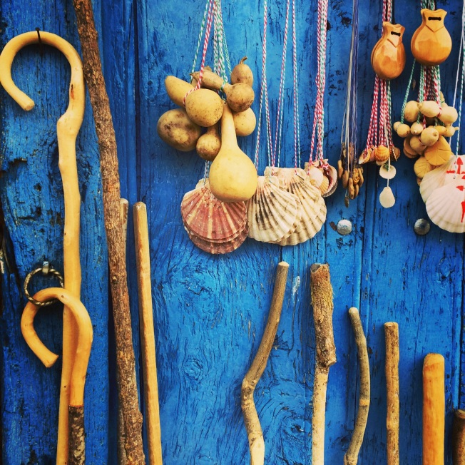 Iconic accessories for the Camino are found everywhere along the Way, but not everyone who carries them has spirituality or piety on their mind.
