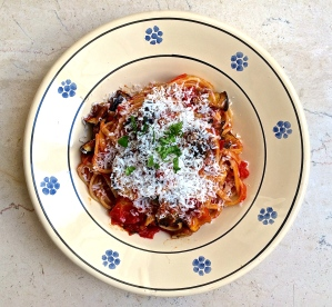 This bowl is bursting with distilled tomato flavor, savory roasted eggplant and creamy ricotta. Summer on a plate!
