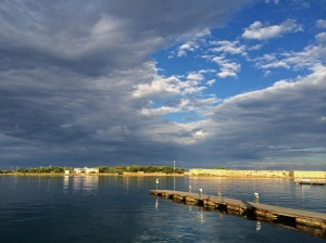The calm—and low angle light—in Brindisi harbor after the storm.
