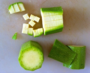 Zucchini make a great addition to Farro Salad; here's how you dice them.