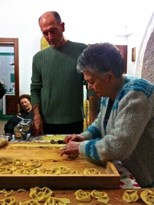 Our friend Vito helps his mother make cartellate with a hand-cranked pasta machine and a lot of fiddly pinching.
