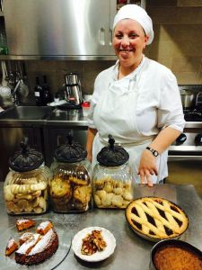 Chef Rosy Grottoli in the Masseria Fumarola kitchen with just a few of the treats she shared with us.